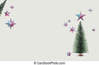 stars., metallico, albero, appendere, abete rosso