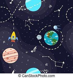 stars., modello, pianeti, razzo spaziale