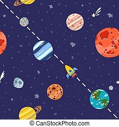 stars., pianeti, modello, razzo spaziale