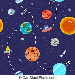 stars., pianeti, spazio, luminoso, modello