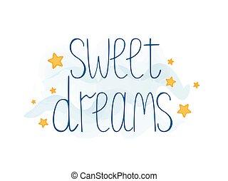 stars., vettore, mano, illustration., fare un sogno, carino, testo, dolce, disegnato