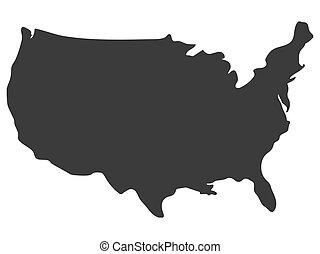 stati, america, vettore, unito, illustrazione, mappa, silhouette