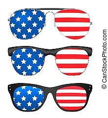 stati, bandiera, unito, occhiali da sole, america