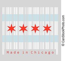stati, chicago, set, colore città, unito, bandiera, barcode, populous, america., la maggior parte, illinois