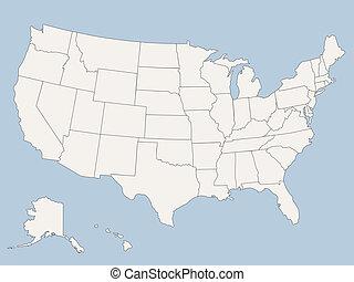 stati, mappa, america, unito, vettore