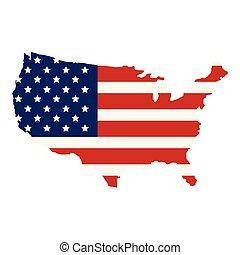 stati, mappa, bandiera, unito, america