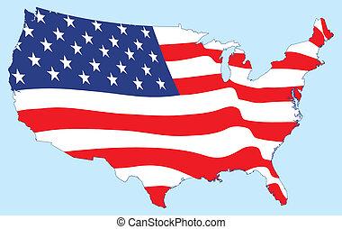 stati, mappa, bandiera, unito