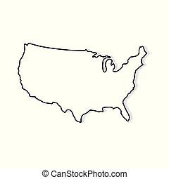 stati, mappa, bianco, unito, nero