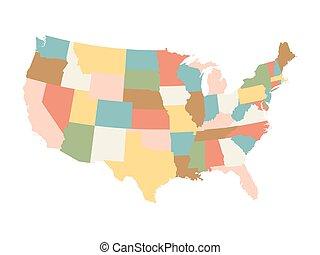 stati, mappa, unito, colorito