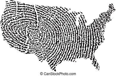 stati, mappa, unito, impronta digitale