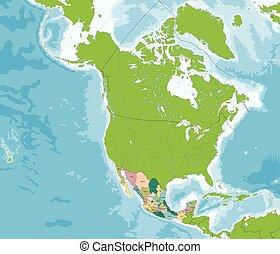 stati, mappa, unito, messicano