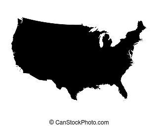 stati, mappa, unito, nero