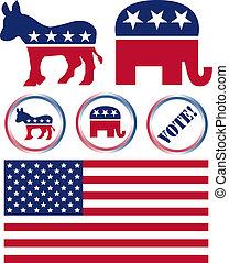 stati, set, politico, simboli, unito, festa