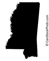stati, silhouette, mississippi, vettore, america, unito, mappa, stato