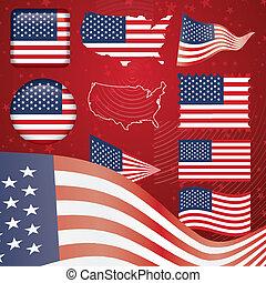 stati, simbolo, unito, set, america