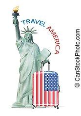 stati uniti, bagaglio, libertà, bandiera, statua, america