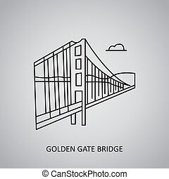 stati uniti, cancello dorato, francisco., icona, ponte, san, grigio, fondo., linea