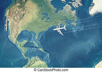 stati uniti, civile, sopra, volare, oceano, atlantico, bianco, aeroplano