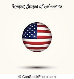 stati uniti diminuiscono, vettore, america, icona