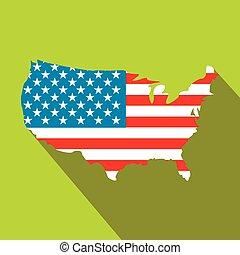 stati uniti, icona, bandiera, appartamento, mappa