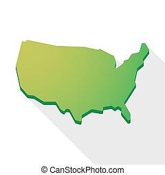stati uniti, mappa, icona, verde