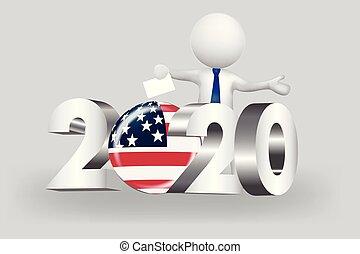 stati uniti, persone, -, piccolo, 2020, voto, logotipo, 3d