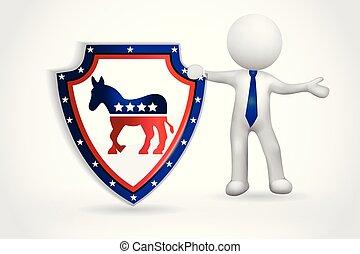stati uniti, persone, simbolo, -, piccolo, democratico, 3d