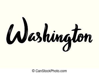 stati uniti, scritto mano, washington, calligrafia, nome, capital.