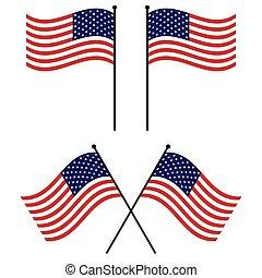 stati uniti, vettore, americano, ondeggiare, set, bandiere, bandiera