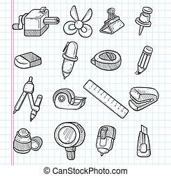 stationery, set, icone