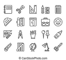 stationery., set, lineare, icone