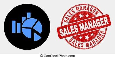 statistica, afflizione, vendite, direttore, vettore, sigillo, icona