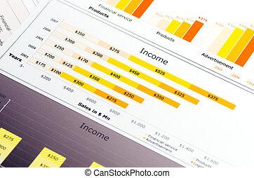 statistica, colorato, tabelle, vendite, grafici, relazione