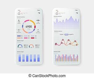 statistica, finanza, mobile, moderno, tabelle, grafici