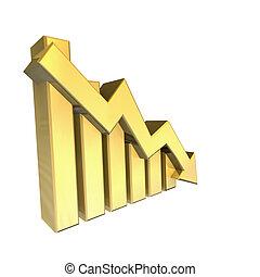 statistica, grafico, oro