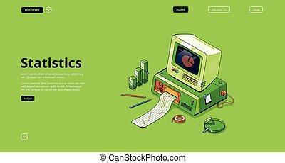 statistica, vettore, bandiera, analisi, dati