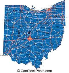 stato, politico, mappa, ohio