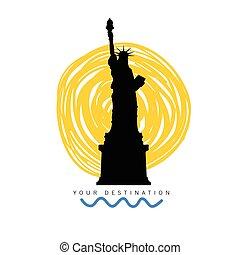 statua, destinazione corsa, illustrazione, libertà