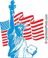 statua, libertà, bandiera usa