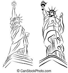 statua, libertà, disegni