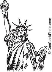 statua, libertà, illustrazione