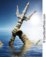 statua, o, poseidon's, nettuno, braccio
