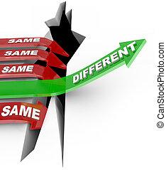 status, differente, frecce, stesso, battiti, vs, innovazione, unico, quo