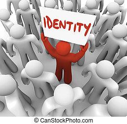 status, marca, segno, identità, presa a terra, unico, consapevolezza, uomo