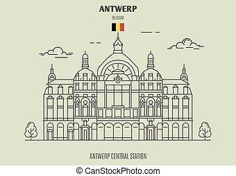 stazione, antwerp, punto di riferimento, belgium., icona, centrale