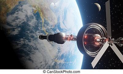stazione, spazio, orbitare, terra pianeta