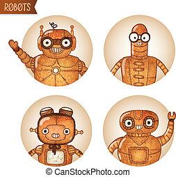 steampunk, iconset, robot