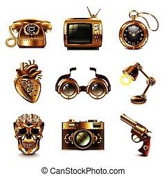 steampunk, vettore, set, icone