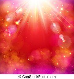 stella, astratto, dinamico, burst., luminoso, fondo, rosso