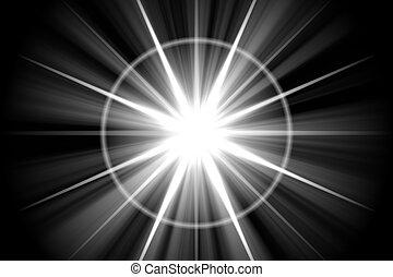 stella, astratto, sunburst, solare